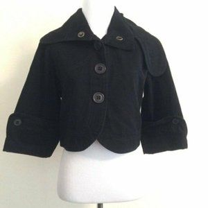 Mike & Chris Cropped Jacket 3/4 Sl Button Up Black